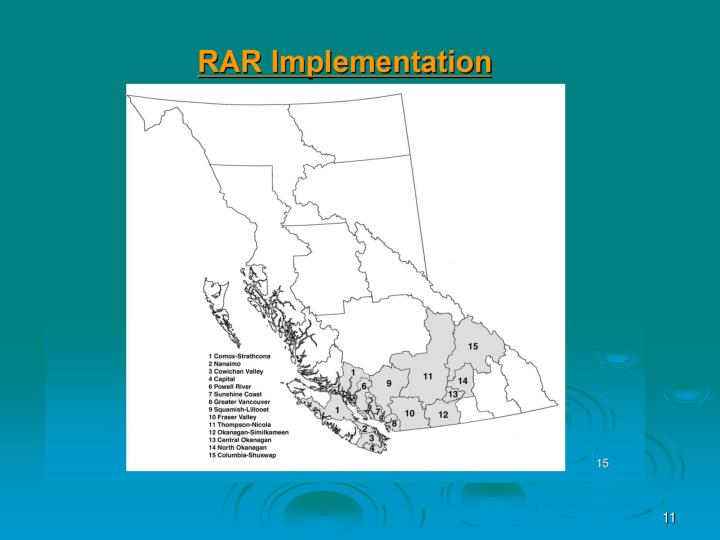 Where in BC is RAR Being Used?