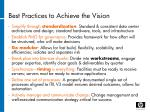 best practices to achieve the vision