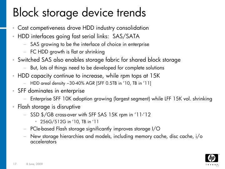 Block storage device trends