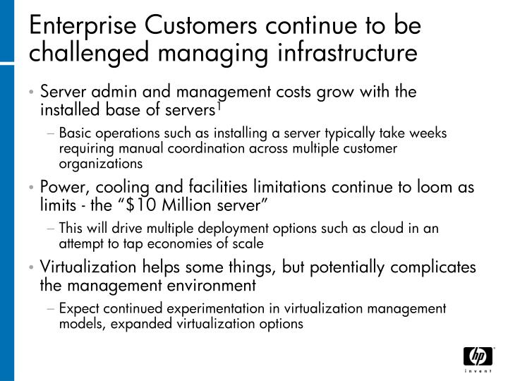 Enterprise Customers continue to be challenged managing infrastructure