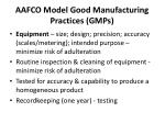 aafco model good manufacturing practices gmps4