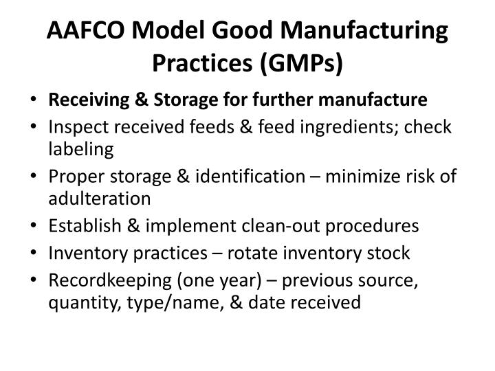 AAFCO Model Good Manufacturing Practices (GMPs)