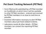 pet event tracking network petnet7