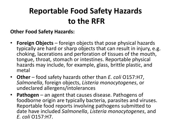 Reportable Food Safety Hazards