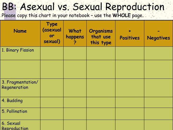 Bb asexual vs sexual reproduction please copy this chart in your notebook use the whole page