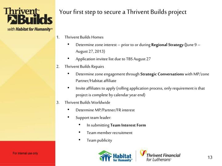 Your first step to secure a Thrivent Builds project