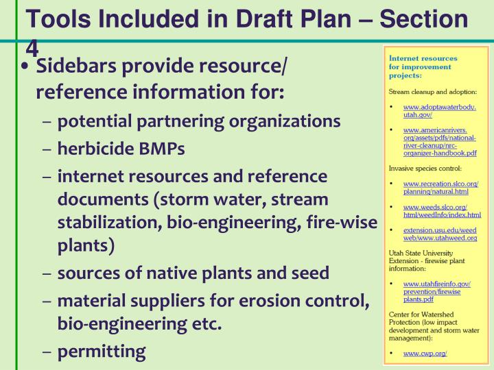 Tools Included in Draft Plan – Section 4