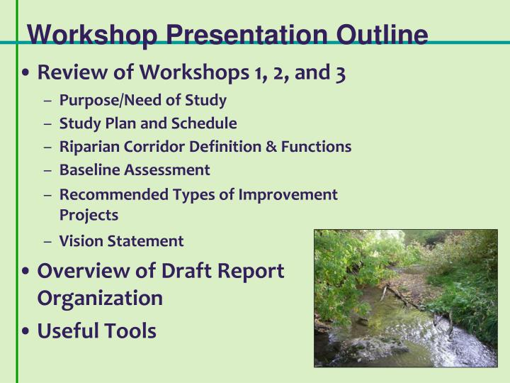 Workshop presentation outline
