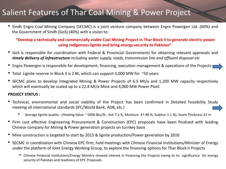 Salient Features of Thar Coal Mining & Power Project