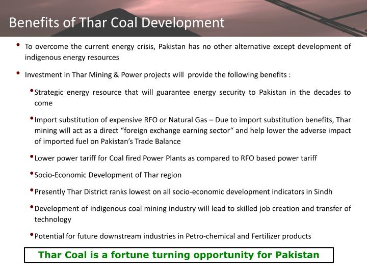 Benefits of Thar Coal Development
