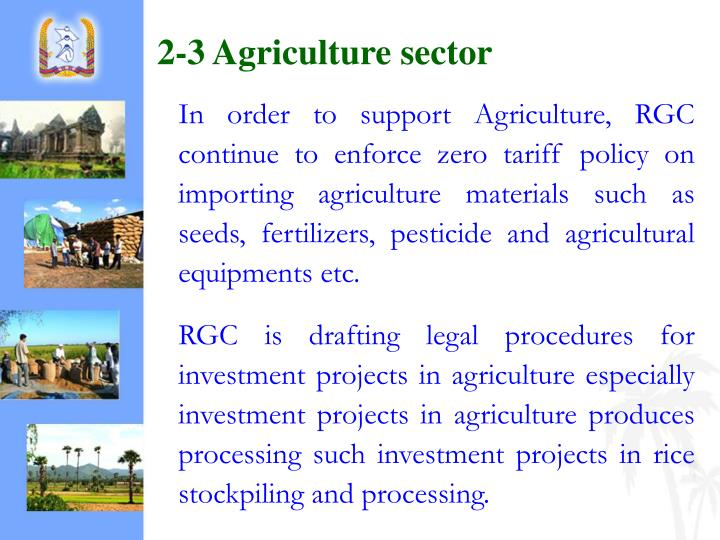 2-3 Agriculture sector