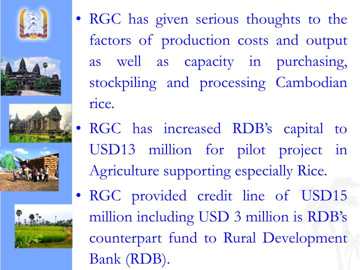 RGC has given serious thoughts to the factors of production costs and output as well as capacity in purchasing, stockpiling and processing Cambodian rice.