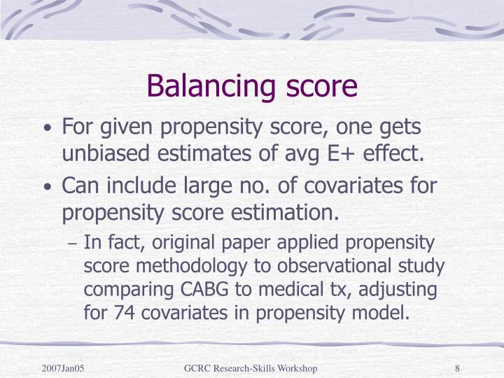 Balancing score