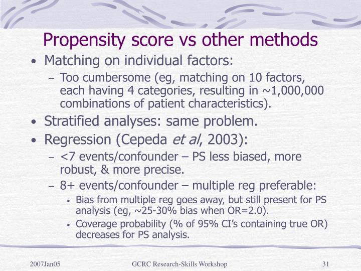 Propensity score vs other methods