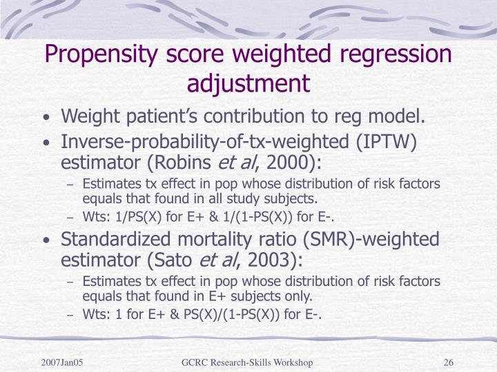 Propensity score weighted regression adjustment