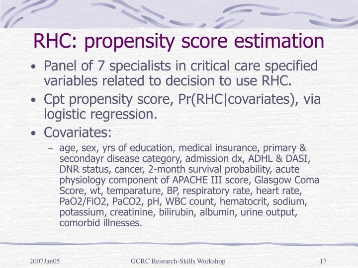 RHC: propensity score estimation