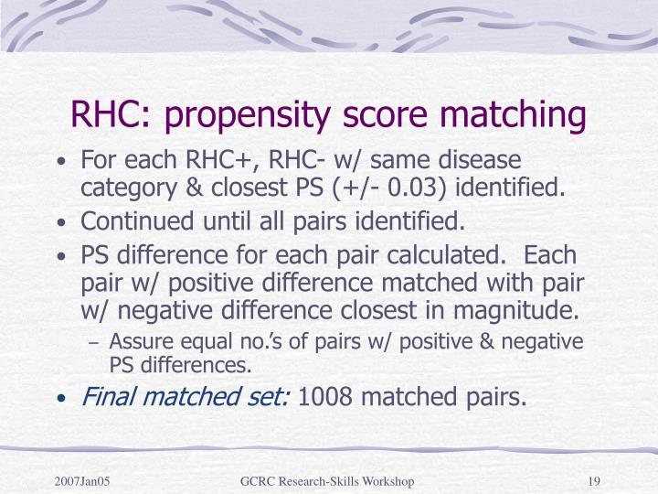 RHC: propensity score matching