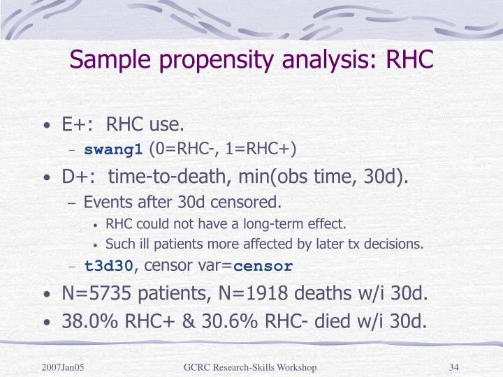 Sample propensity analysis: RHC