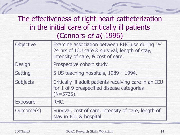 The effectiveness of right heart catheterization in the initial care of critically ill patients (Connors