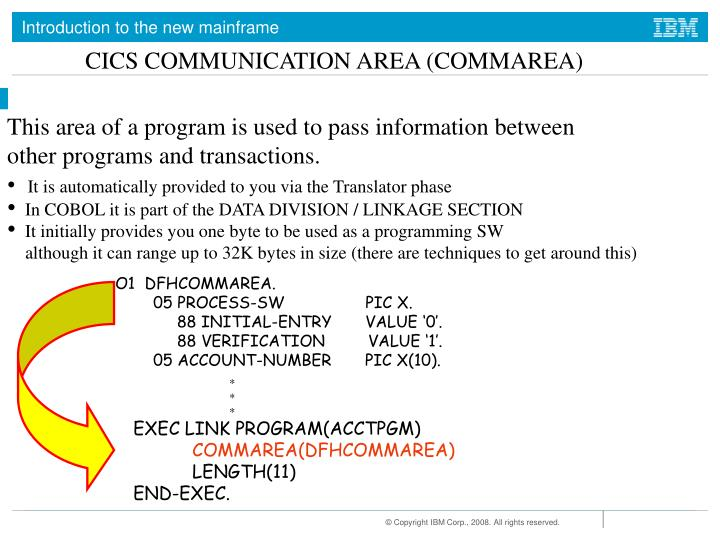 CICS COMMUNICATION AREA (COMMAREA)