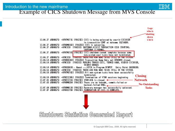 Example of CICS Shutdown Message from MVS Console