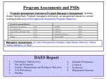 program assessments and psds