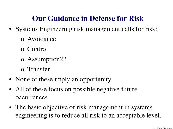 Our Guidance in Defense for Risk