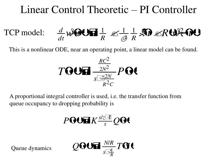 Linear Control Theoretic – PI Controller