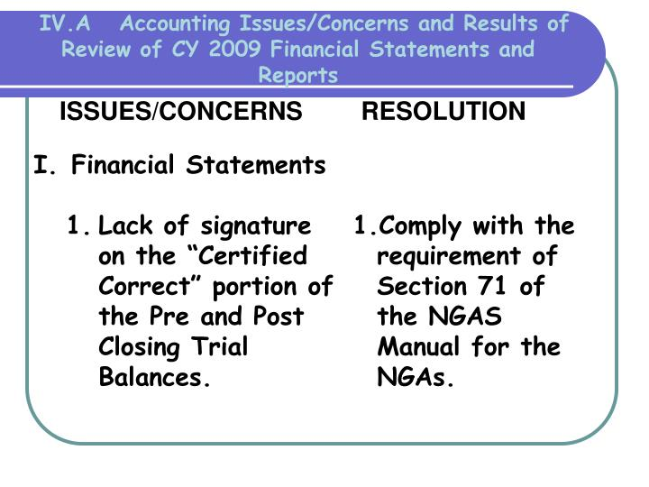 IV.A   Accounting Issues/Concerns and Results of  Review of CY 2009 Financial Statements and Reports