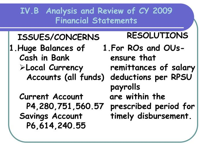 IV.B  Analysis and Review of CY 2009 Financial Statements