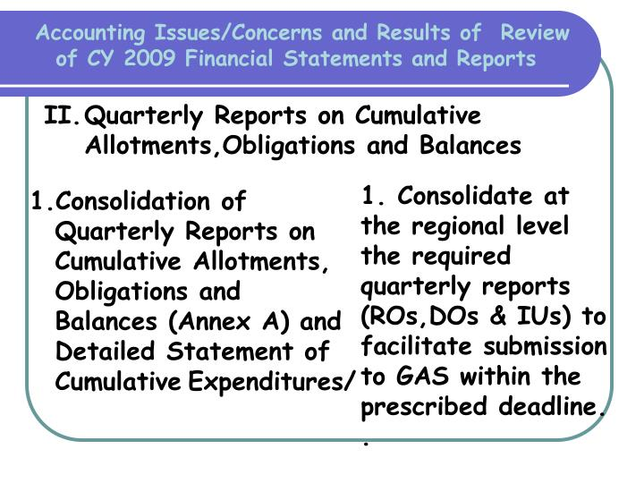 Accounting Issues/Concerns and Results of  Review of CY 2009 Financial Statements and Reports