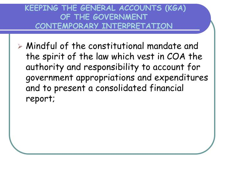 KEEPING THE GENERAL ACCOUNTS (KGA)