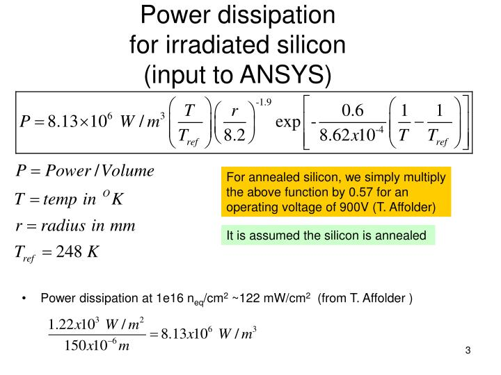 Power dissipation for irradiated silicon input to ansys