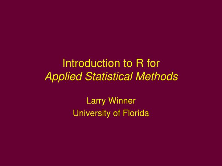 introduction to r An introduction to r notes on r: a programming environment for data analysis and graphics version 141 (2002-01-30) w n venables, d m smith.