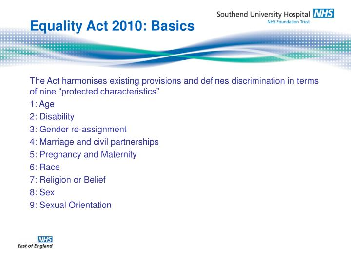 Equality Act 2010: Basics