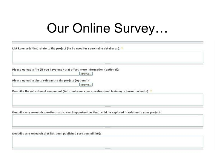 Our Online Survey…