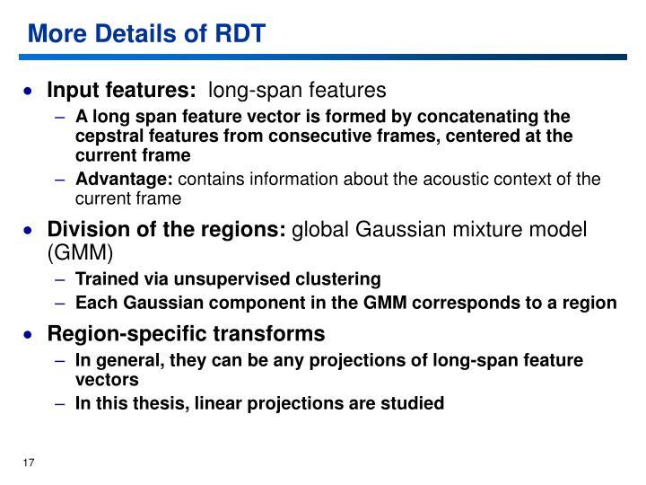 More Details of RDT