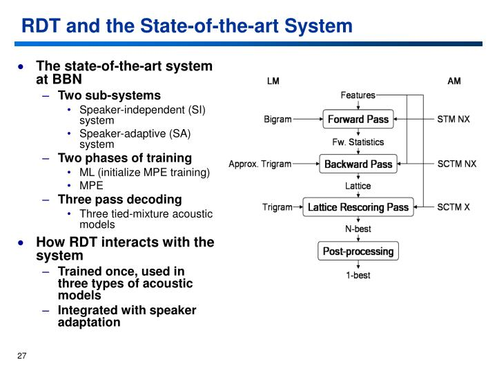 RDT and the State-of-the-art System