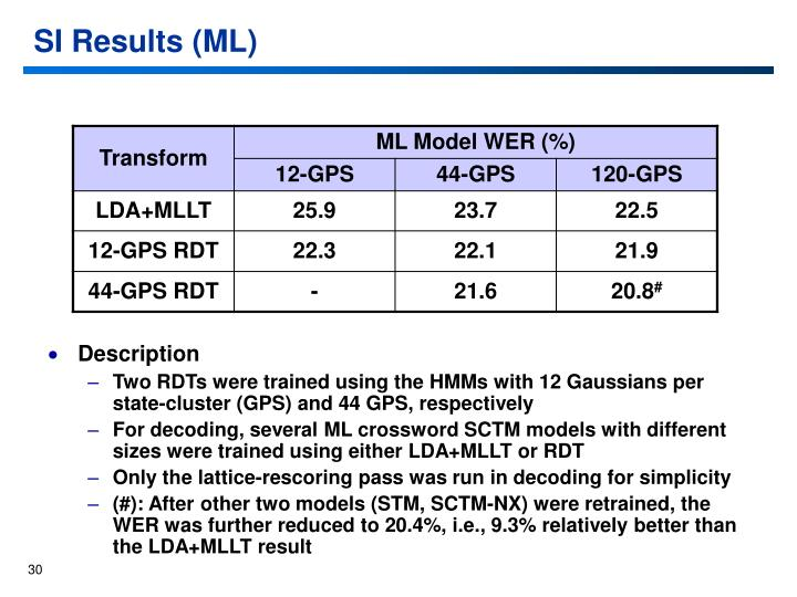SI Results (ML)