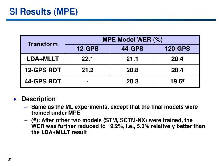 SI Results (MPE)
