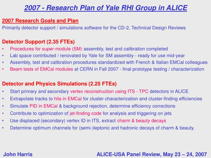 2007 Research Goals and Plan