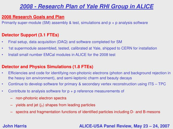 2008 Research Goals and Plan