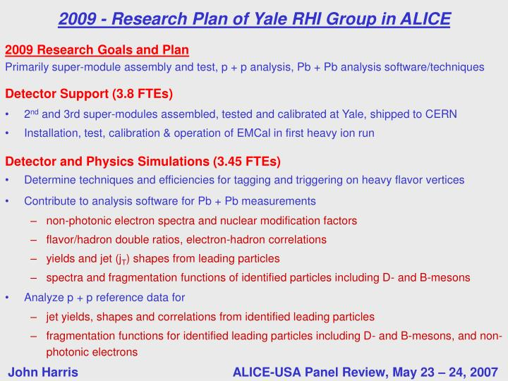 2009 Research Goals and Plan
