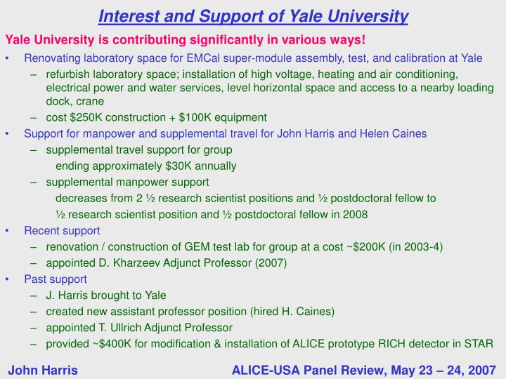 Yale University is contributing significantly in various ways!