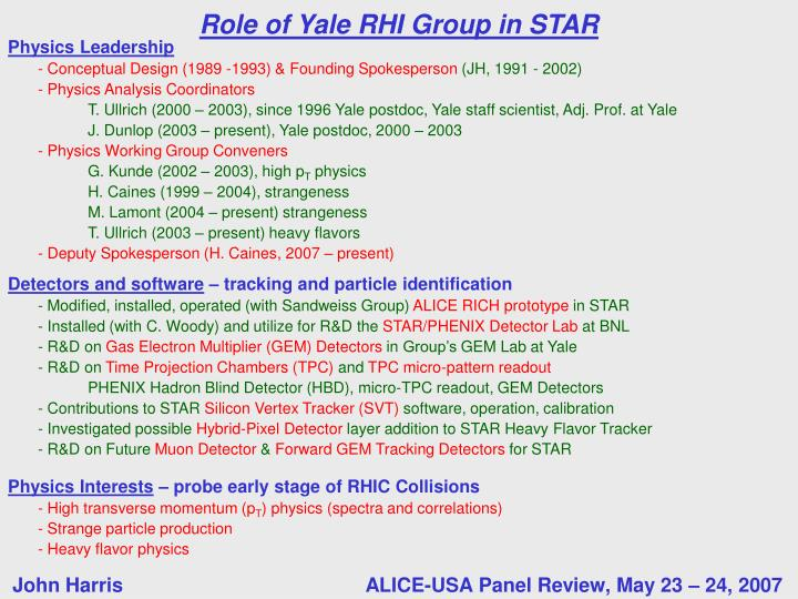 Role of yale rhi group in star