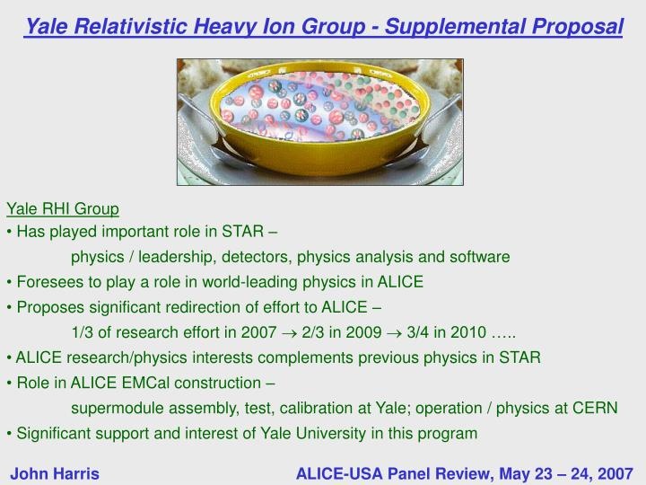 Yale relativistic heavy ion group supplemental proposal