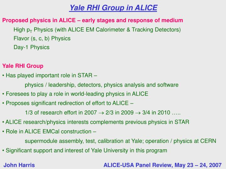 Yale RHI Group in ALICE