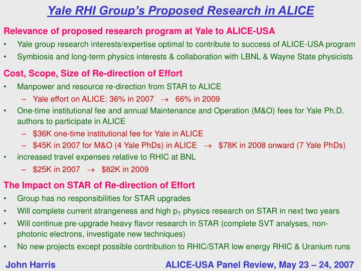 Relevance of proposed research program at Yale to ALICE-USA