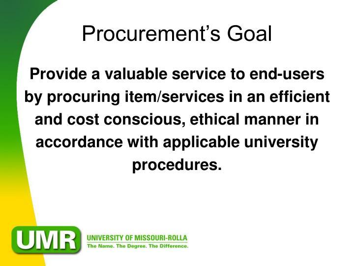 Procurement's Goal