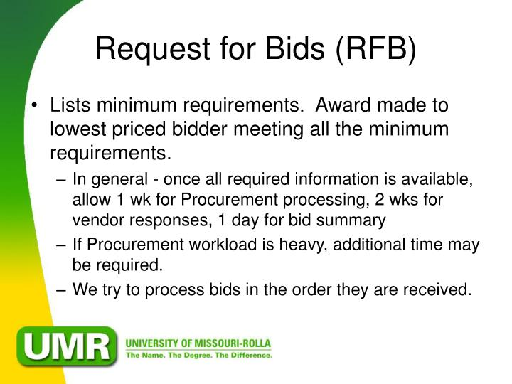 Request for Bids (RFB)